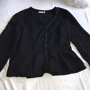 Zip up peplum blazer